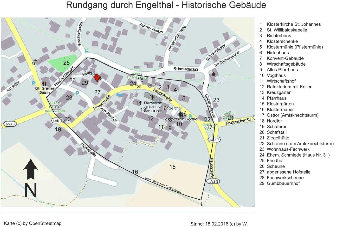 Karte historischer Gebäude